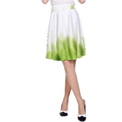 Green Leaves Pattern A Line Skirt