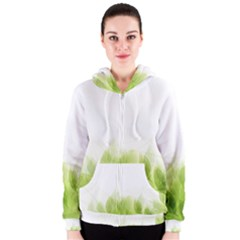 Green Leaves Pattern Women s Zipper Hoodie