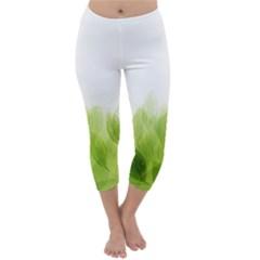 Green Leaves Pattern Capri Winter Leggings