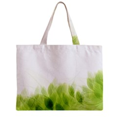 Green Leaves Pattern Zipper Mini Tote Bag