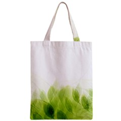 Green Leaves Pattern Zipper Classic Tote Bag