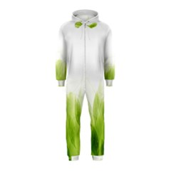 Green Leaves Pattern Hooded Jumpsuit (kids)