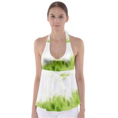 Green Leaves Pattern Babydoll Tankini Top