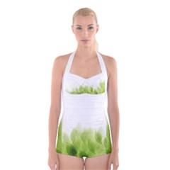 Green Leaves Pattern Boyleg Halter Swimsuit