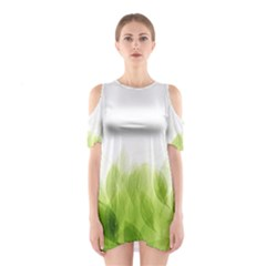Green Leaves Pattern Shoulder Cutout One Piece
