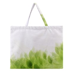 Green Leaves Pattern Zipper Large Tote Bag
