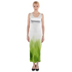 Green Leaves Pattern Fitted Maxi Dress