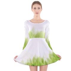 Green Leaves Pattern Long Sleeve Velvet Skater Dress