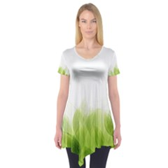 Green Leaves Pattern Short Sleeve Tunic