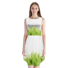 Green Leaves Pattern Sleeveless Chiffon Dress
