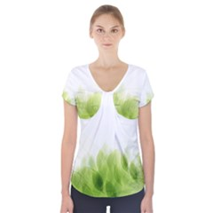 Green Leaves Pattern Short Sleeve Front Detail Top