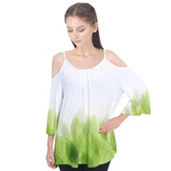Green Leaves Pattern Flutter Tees