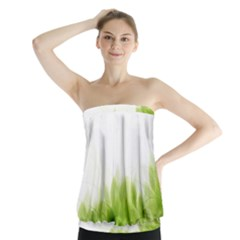 Green Leaves Pattern Strapless Top
