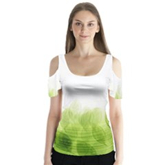 Green Leaves Pattern Butterfly Sleeve Cutout Tee