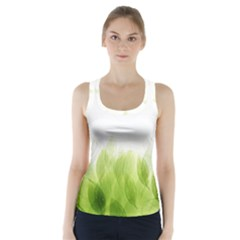 Green Leaves Pattern Racer Back Sports Top