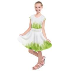 Green Leaves Pattern Kids  Short Sleeve Dress