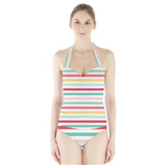 Papel De Envolver Hooray Circus Stripe Red Pink Dot Halter Swimsuit