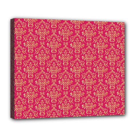 Damask Background Gold Deluxe Canvas 24  X 20