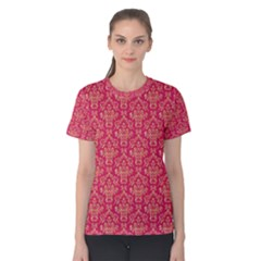 Damask Background Gold Women s Cotton Tee
