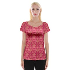 Damask Background Gold Women s Cap Sleeve Top