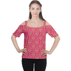 Damask Background Gold Women s Cutout Shoulder Tee