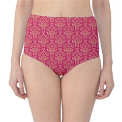 Damask Background Gold High Waist Bikini Bottoms