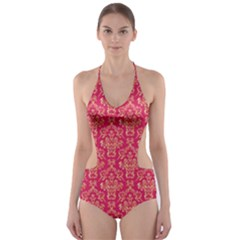 Damask Background Gold Cut-Out One Piece Swimsuit