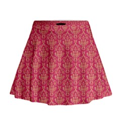 Damask Background Gold Mini Flare Skirt