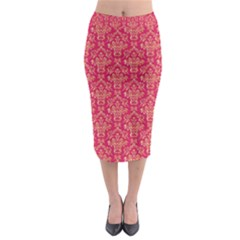 Damask Background Gold Midi Pencil Skirt