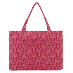 Damask Background Gold Medium Zipper Tote Bag