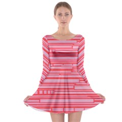Index Red Pink Long Sleeve Skater Dress