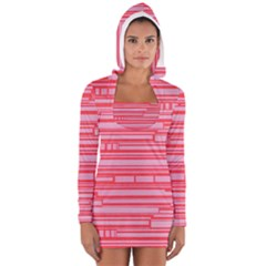 Index Red Pink Women s Long Sleeve Hooded T Shirt