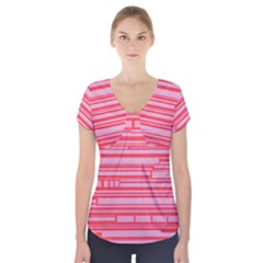 Index Red Pink Short Sleeve Front Detail Top
