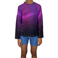 Purple Wallpaper Kids  Long Sleeve Swimwear