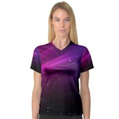 Purple Wallpaper Women s V Neck Sport Mesh Tee