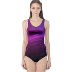 Purple Wallpaper One Piece Swimsuit