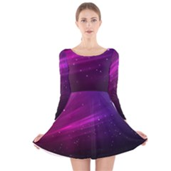 Purple Wallpaper Long Sleeve Velvet Skater Dress