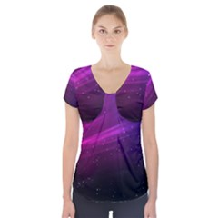 Purple Wallpaper Short Sleeve Front Detail Top