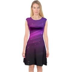 Purple Wallpaper Capsleeve Midi Dress