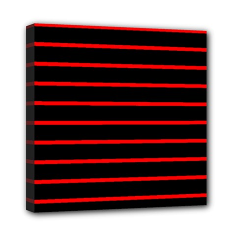 Red And Black Horizontal Lines And Stripes Seamless Tileable Mini Canvas 8  X 8