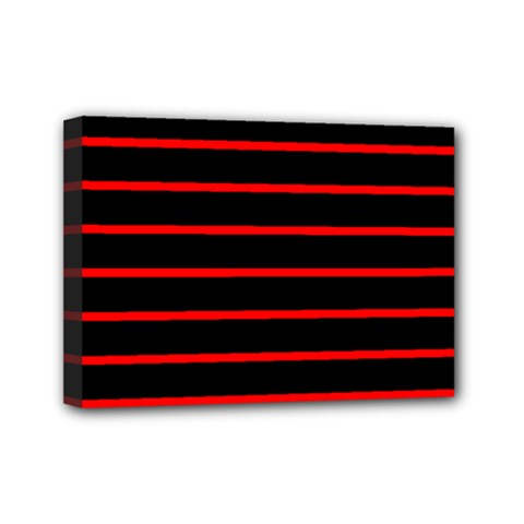 Red And Black Horizontal Lines And Stripes Seamless Tileable Mini Canvas 7  X 5