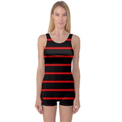 Red And Black Horizontal Lines And Stripes Seamless Tileable One Piece Boyleg Swimsuit