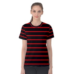 Red And Black Horizontal Lines And Stripes Seamless Tileable Women s Cotton Tee