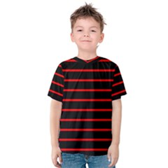 Red And Black Horizontal Lines And Stripes Seamless Tileable Kids  Cotton Tee