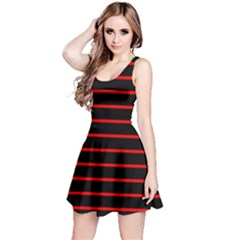 Red And Black Horizontal Lines And Stripes Seamless Tileable Reversible Sleeveless Dress
