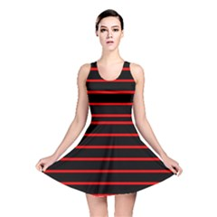 Red And Black Horizontal Lines And Stripes Seamless Tileable Reversible Skater Dress