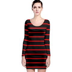 Red And Black Horizontal Lines And Stripes Seamless Tileable Long Sleeve Bodycon Dress