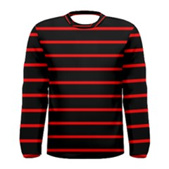 Red And Black Horizontal Lines And Stripes Seamless Tileable Men s Long Sleeve Tee
