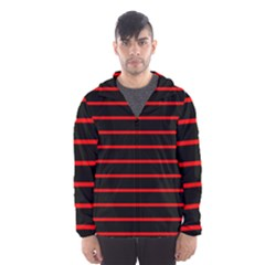 Red And Black Horizontal Lines And Stripes Seamless Tileable Hooded Wind Breaker (men)
