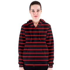 Red And Black Horizontal Lines And Stripes Seamless Tileable Women s Zipper Hoodie